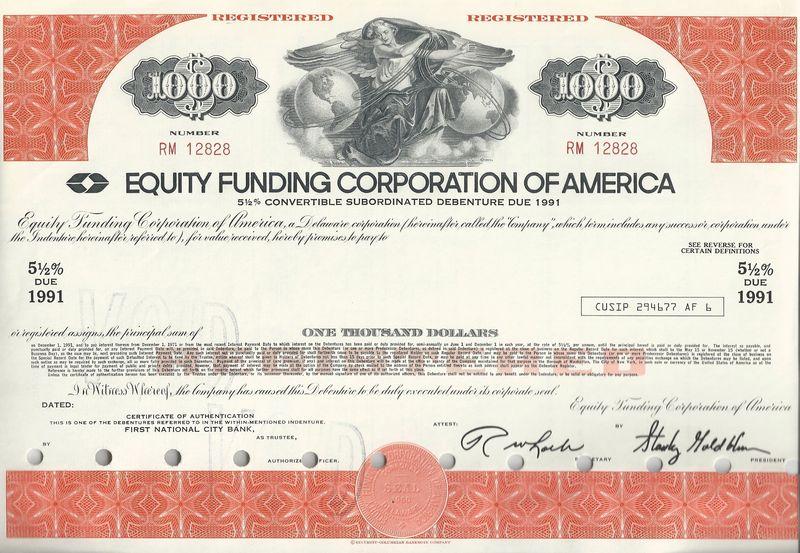 Equity Funding - Dirks - stock certificate
