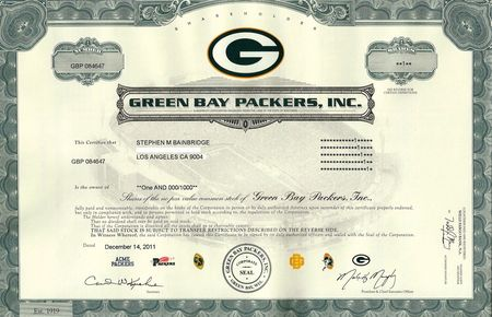 Green Bay Packers cert