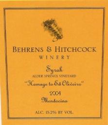 Behrens hitchcock homage ed syrah 2004