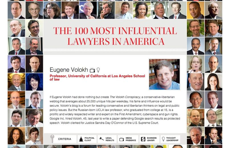 Eugene volokh 100 most influential lawyers