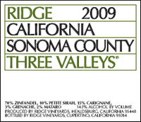 Three valleys ridge zinfandel 2009