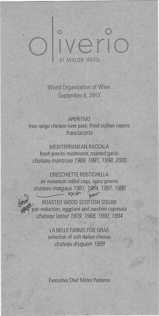 Oliverio wine tasting lunch menu