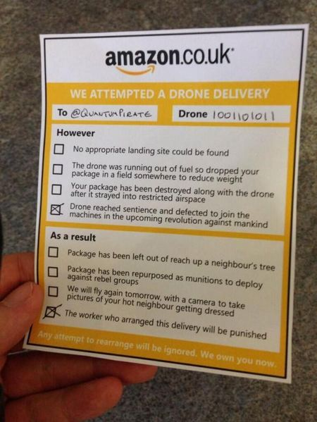Amazon drone label