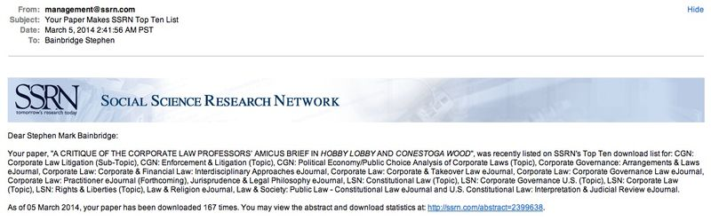 Hobby lobby makes ssrn top ten