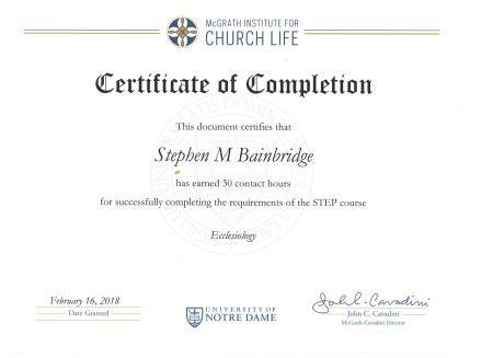 UND Course 3 Ecclesiology