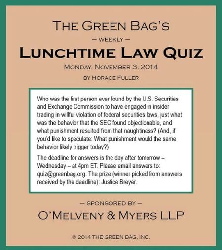 Green Bag Insider Trading Question
