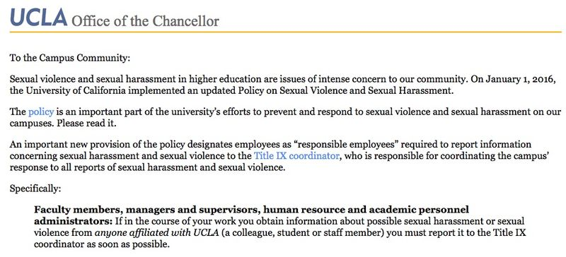Ucla sexual harassment reporting policy