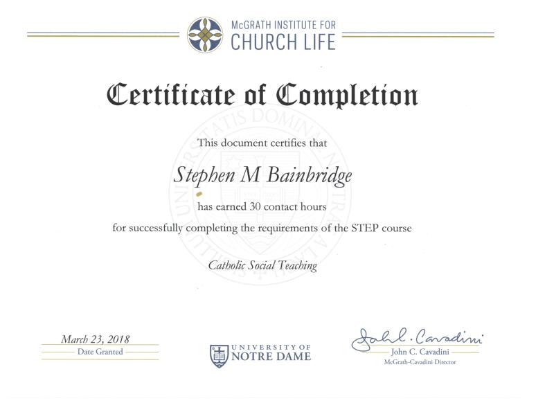 Bainbridge Catholic Social Thought