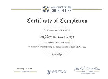 UND Ecclesiology Certificate